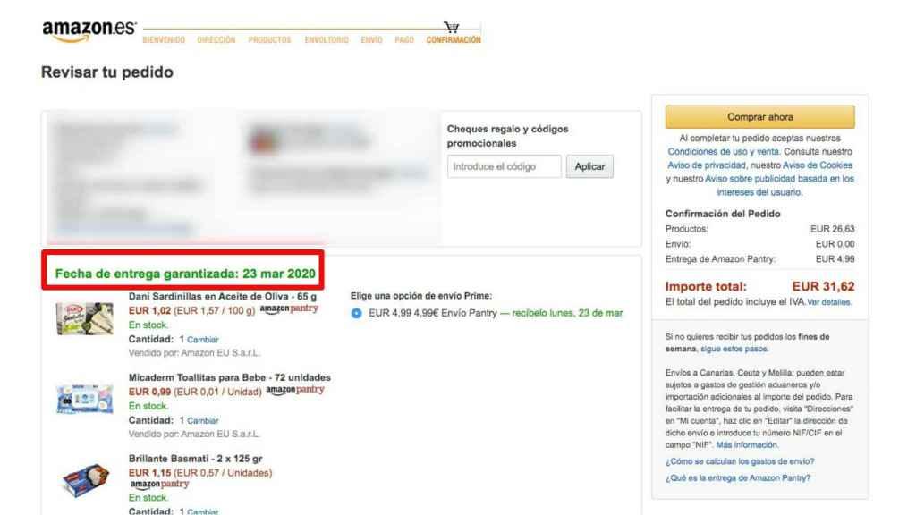 El pedido de Amazon llegaría el 23 de marzo.