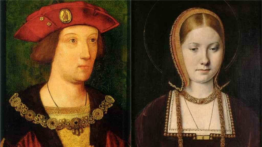 Retratos de Arturo Tudor y Catalina de Aragón.