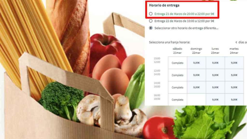 Un cesta de la compra, junto a un pantallazo del retraso del reparto del compra 'online' en todos los comercios.