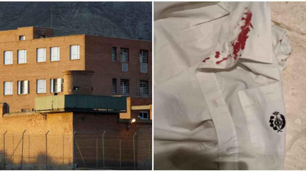 La bata de uno de los funcionarios, ensangrentada tras el ataque del recluso.