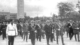 Franco, durante la inauguración del monumento en Palma de Mallorca.