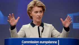 La presidenta Ursula von der Leyen, durante la presentación este viernes de la respuesta de la UE al coronavirus