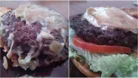 A la izquierda, la hamburguesa de buey; a la derecha, la de vaca.