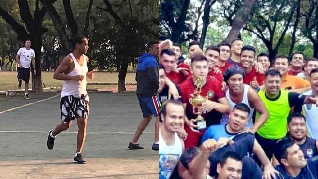 Ronaldinho, en el torneo de fútbol de la prisión de Paraguay