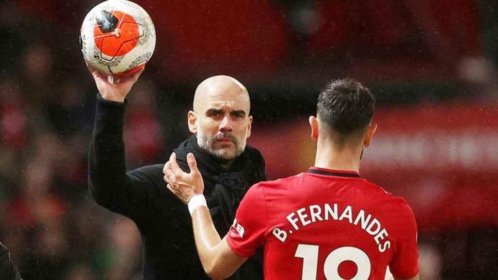Bruno Fernandes y Pep Guardiola