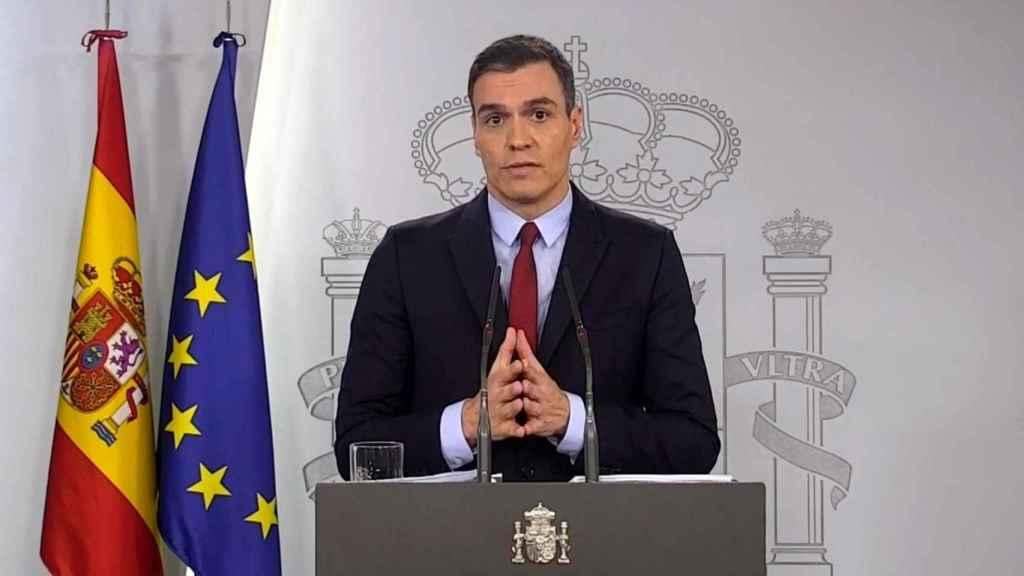 Pedro Sánchez durante su comparecencia tras el Consejo de Ministros extraordinario.