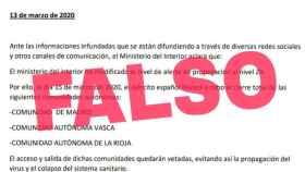 Documento falso desmentido por el Gobierno sobre un presunto cierre de Madrid, La Rioja y el País Vasco a causa del coronavirus.
