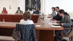 El vicepresidente segundo, Pablo Iglesias, en el Consejo de Ministros extraordinario.