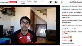 Pol Lorente, preparador físico del Leganés, realizando una sesión de entrenamiento online