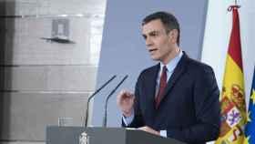 Pedro Sánchez, durante su comparecencia tras declarar el estado de alarma.