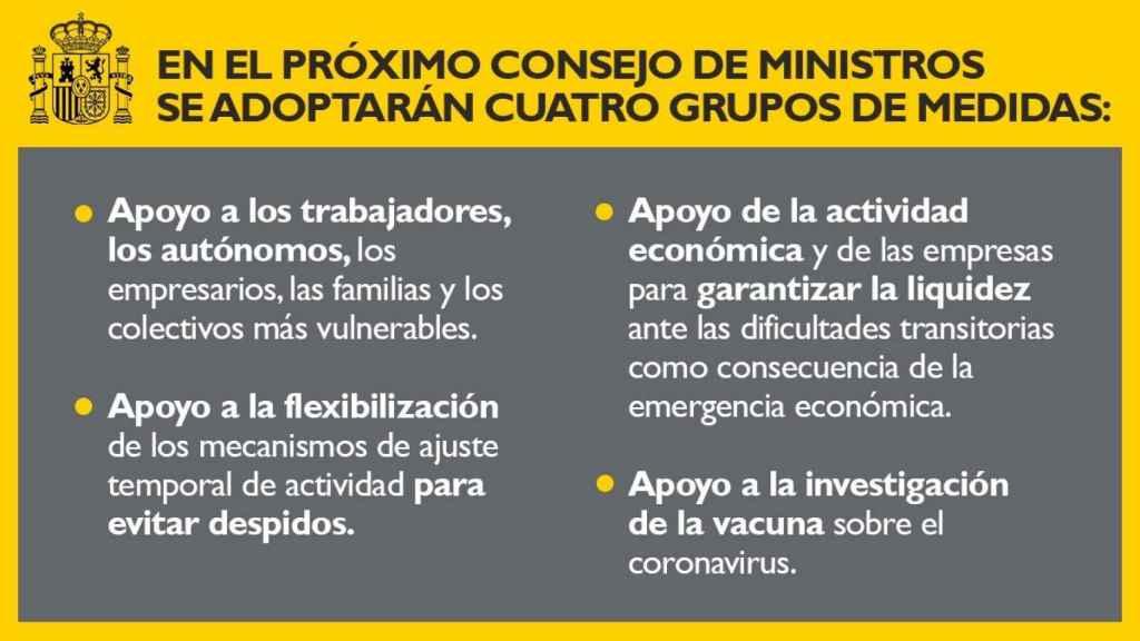 Nota de la Vicepresidencia segunda del Gobierno, anticipando las medidas que quiere aprobar el martes.