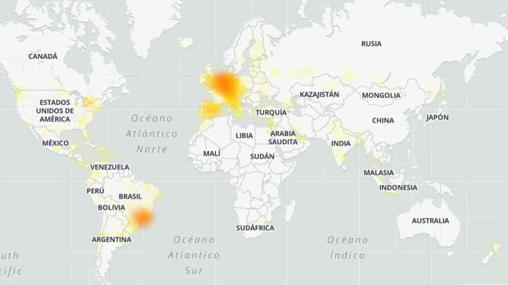 Mapa de problemas reportados de Whatsapp