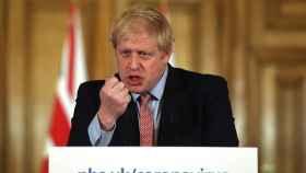 Boris Johnson, durante la rueda de prensa para explicar su estrategia frente al Covid-19