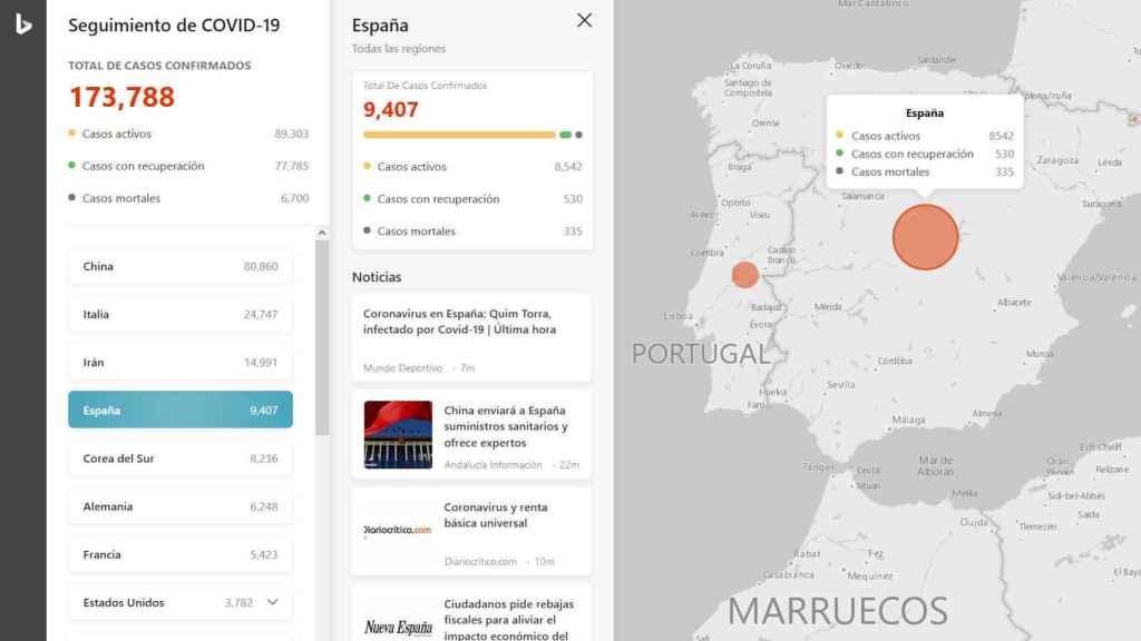 El mapa muestra información y noticias sobre el coronavirus en cada país