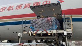 Descarga del avión que aterrizó en Zaragoza con material médico procedente de China.