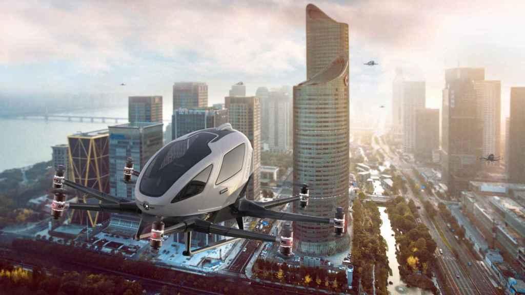 Imagen renderizada del taxi volador eHang 216