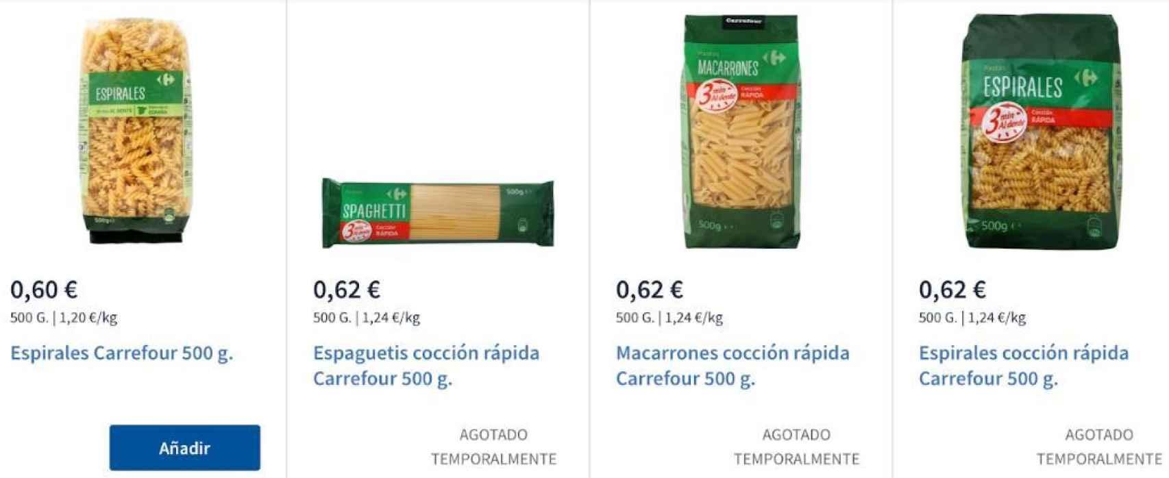Algún tipo de pasta se ha agotado en los supermercados.