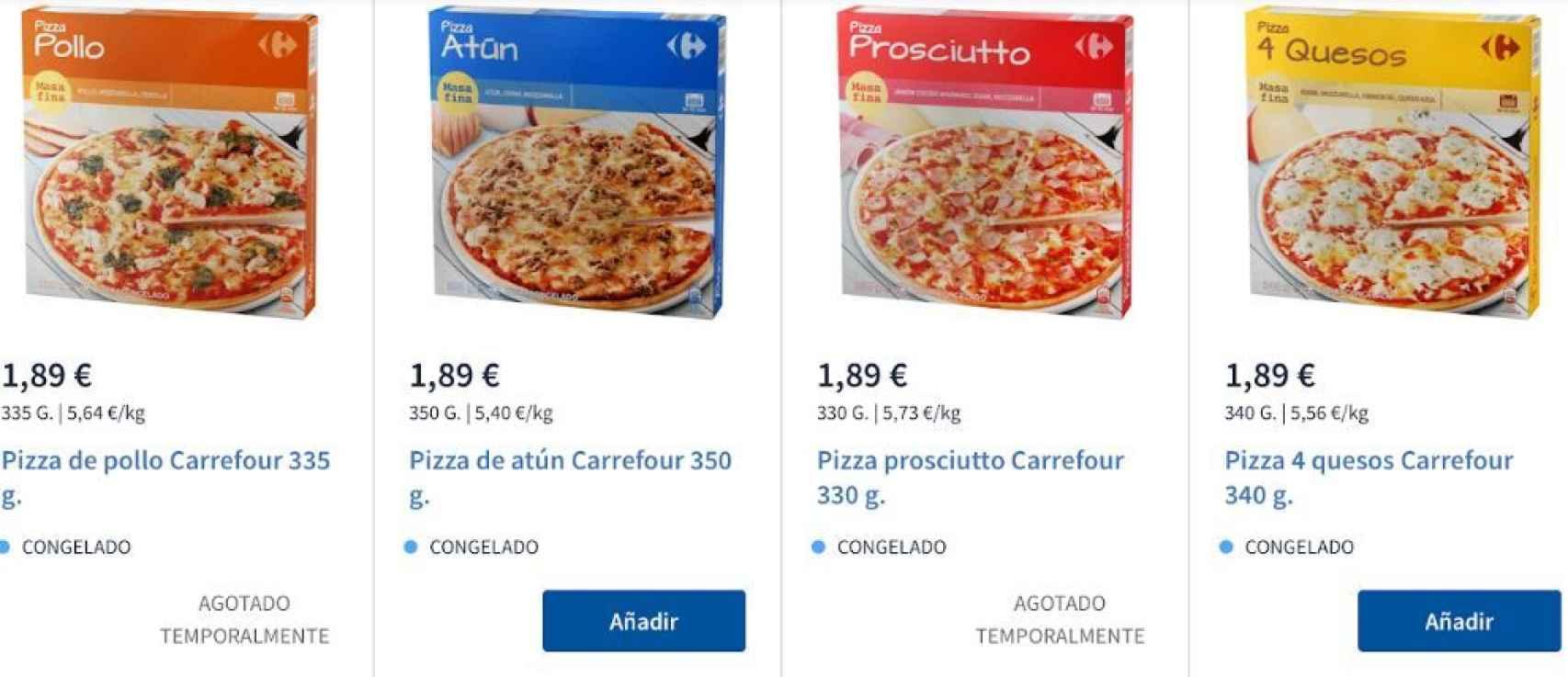 Pizzas, agotadas en Carrefour.