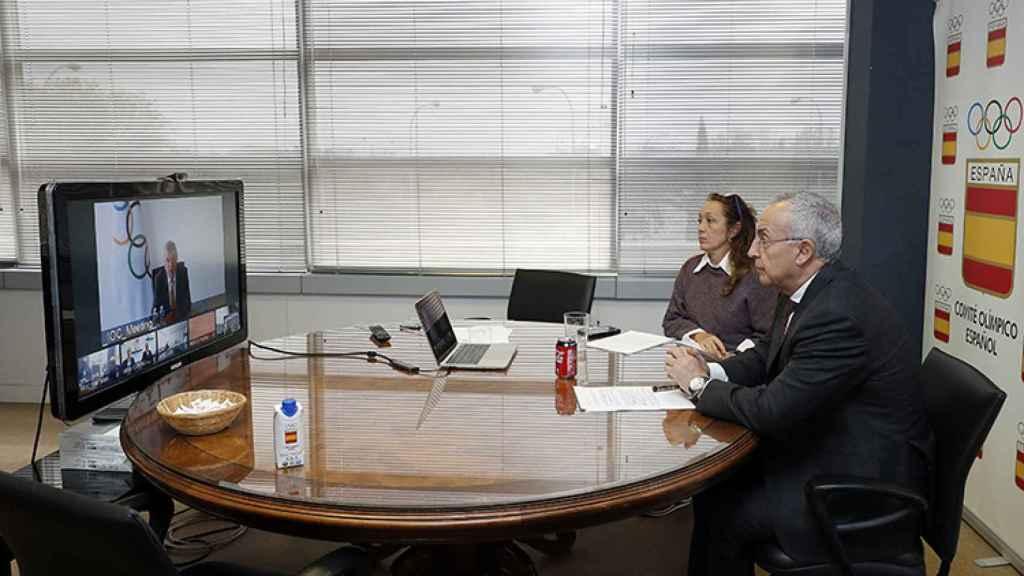 Alejandro Blanco, en la reunión con Thomas Bach por videoconferencia