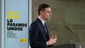 Pedro Sánchez, presidente del Gobierno, anuncia en Moncloa las medidas frente al coronavirus.