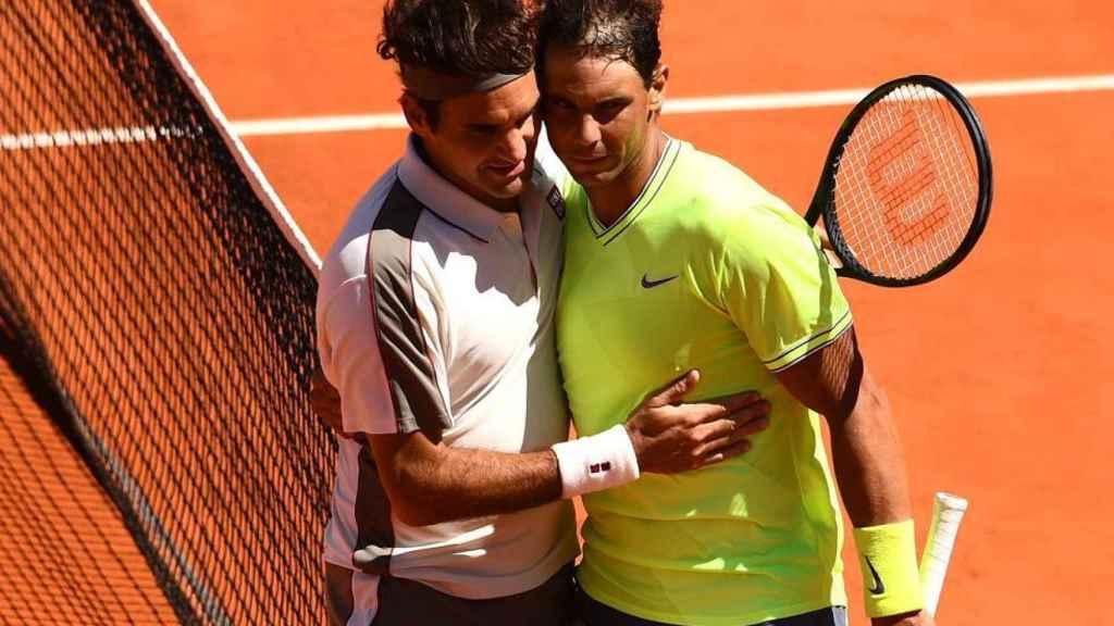 Roger Federer y Rafa Nadal, durante una edición de Roland Garros