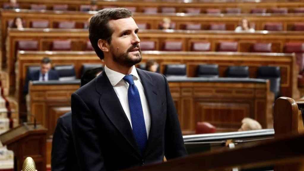 Pablo Casado en el pleno del Congreso, con el presidente Pedro Sánchez al fondo en su escaño.