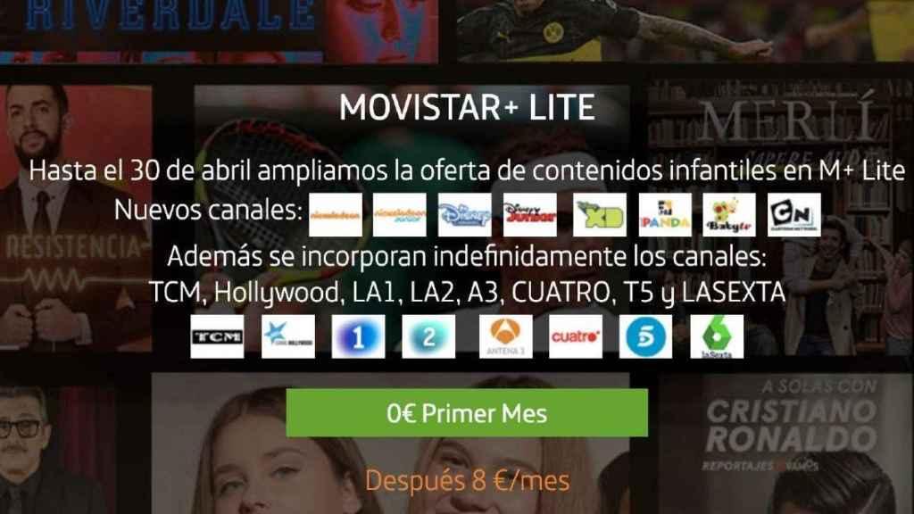 Anuncio de Movistar+ Lite.