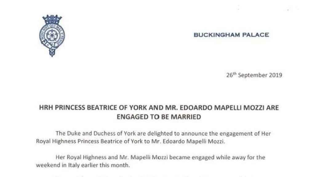 Comunicado oficial de Buckingham Palace sobre el compromiso de la princesa.