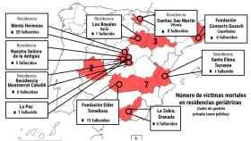Mapa con el número de fallecidos por el coronavirus Sars CoV-2 en residencias geriátricas españolas.