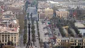 Vista del Paseo de Colón de Barcelona.