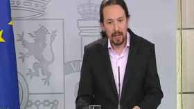 Pablo Iglesias, durante la comparecencia en Moncloa este jueves.