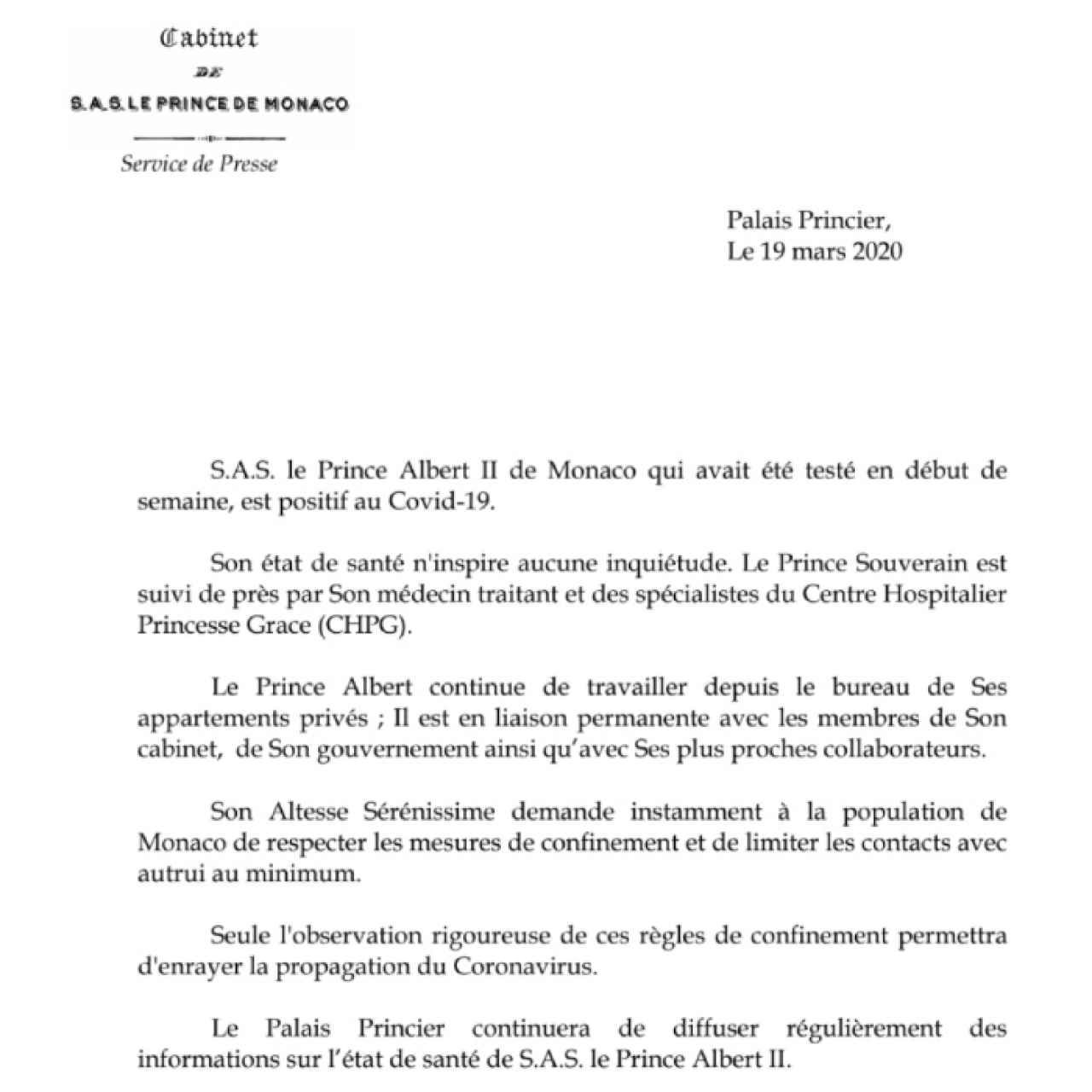 Comunicado de la Casa Grimaldi donde informan del estado de salud de Alberto de Mónaco.