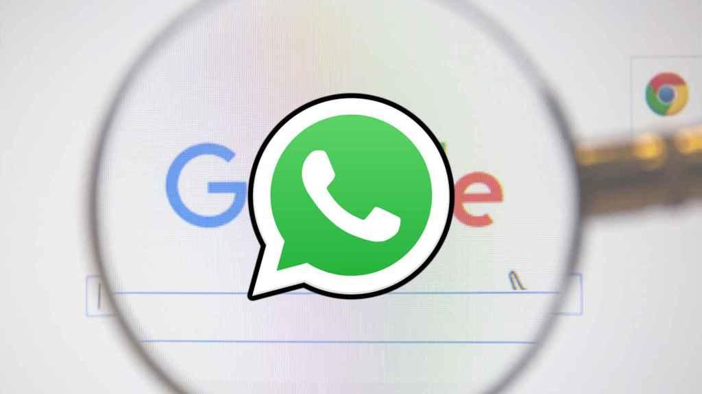 Montaje con el logo de WhatsApp sobre la búsqueda de Google.
