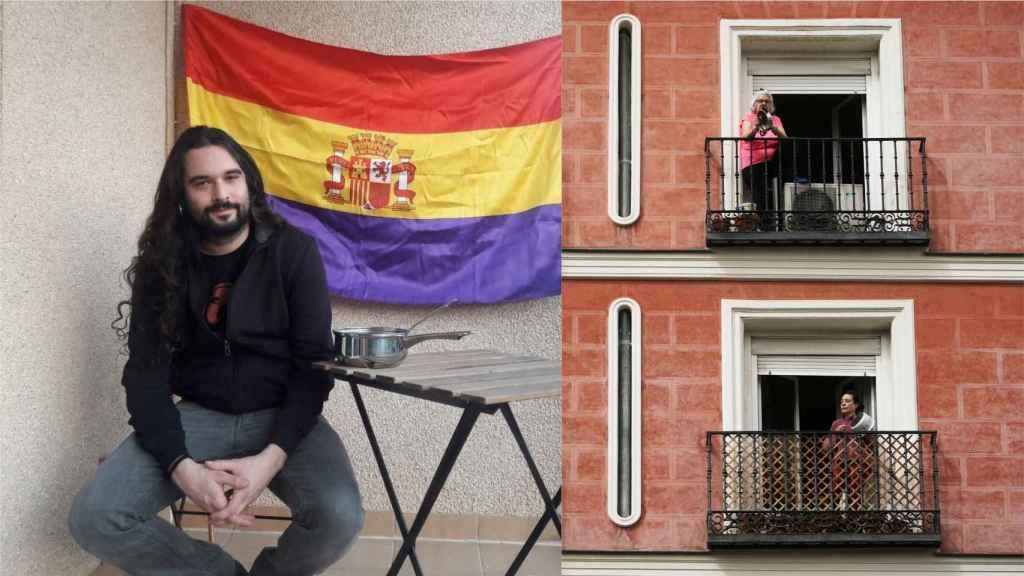 Ramiro Gil, secretario de organización de Alternativa Republicana, y dos vecinas de Madrid protestando,