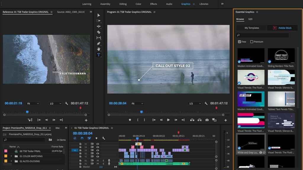 Interfaz de Adobe Premiere Pro.