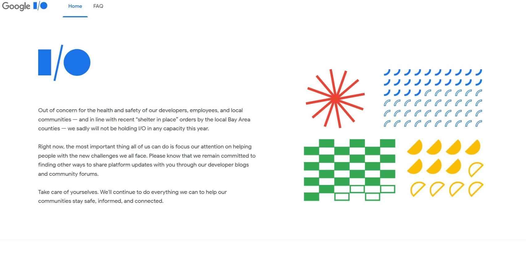 Página web de Google I/O mostrando el anuncio de la cancelación