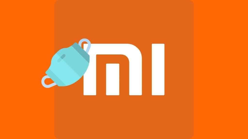 Montaje con una mascarilla y el logo de Xiaomi