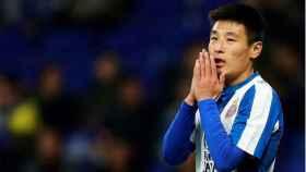 Wu Lei, durante un partido del Espanyol