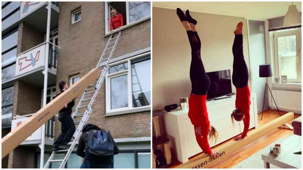 La gimnasta Sanne Wevers recibiendo una barra de equilibrio para entrenar en casa