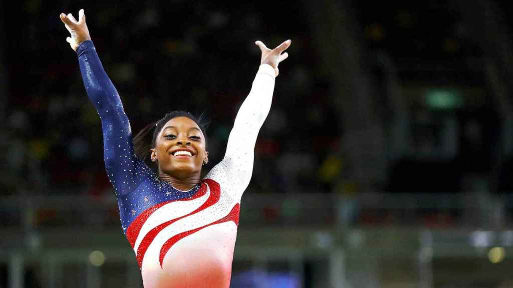 Simone Biles, durante un campeonato