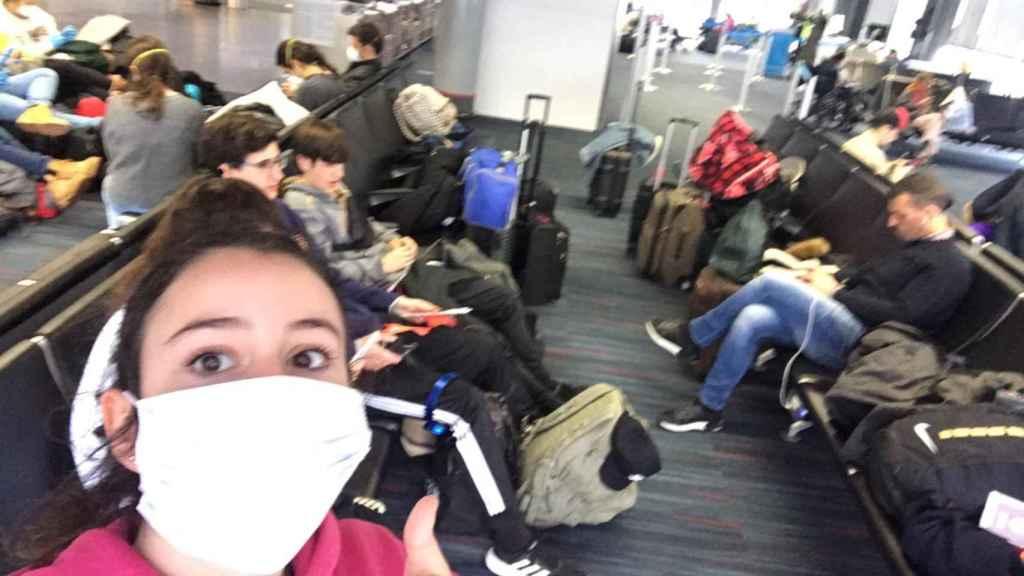 Marta en el aeropuerto de Chicago.