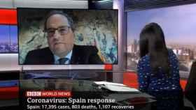 Un momento de la entrevista de la BBC a Quim Torra.