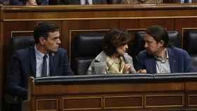 Sánchez, Calvo e Iglesias en una imagen de archivo.
