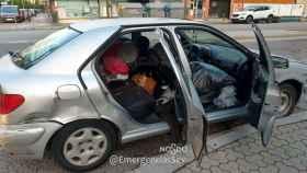 En este estado se encontraba el vehículo, con ocho ocupantes dentro.