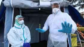 Instalación temporal para combatir el coronavirus en Italia.