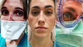 Las marcas de los EPIs en los rostros de tres sanitarias españolas.
