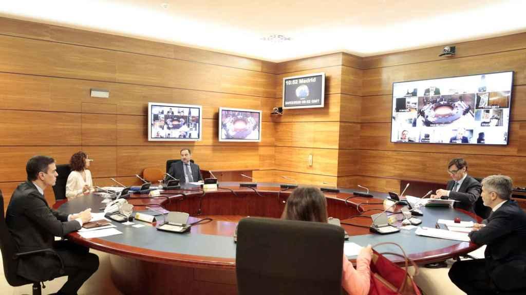 Consejo de Ministros vía telemática, salvo para el presidente, los ministros autoridad delegada y la portavoz.