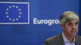 El presidente del Eurogrupo, Mário Centeno, durante la videoconferencia de este martes