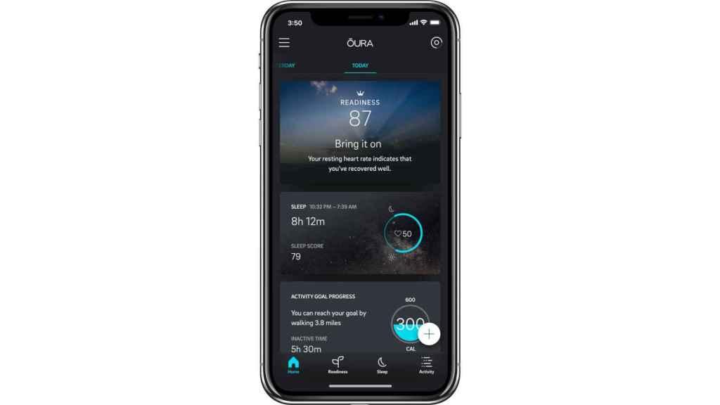 La app de Oura es capaz de registrar los datos del anillo.