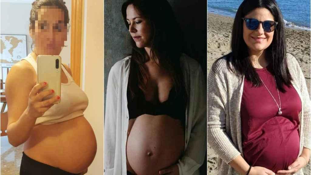 Estefanía, Hortensia y Andrea en imágenes en la recta final de su embarazo.